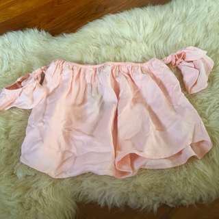 Forever 21 off shoulder peach pink top
