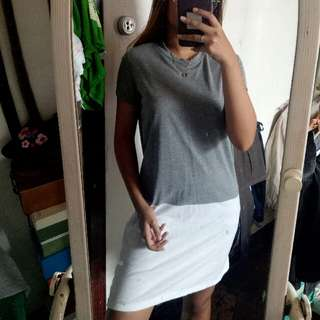 Gray and white comfy t shirt dress