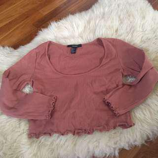 Forever 21 brown rib long sleeve with frills