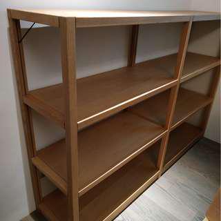 (二手 歡迎議價) 日本 MUJI 無印良品 無垢材組合收納層架 寬172×深41×高120 sus 收納 書櫃 橡木