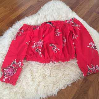 BNWT TEMT Red floral off shoulder long sleeve top