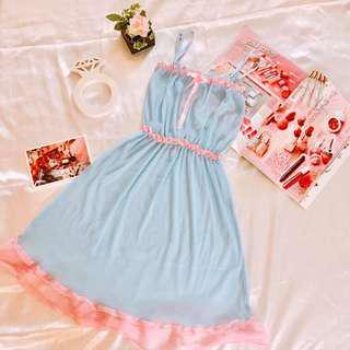 『減價$69』日本可愛baby piny 藍色紗網性感內衣 情趣內衣 連身裙 Sex Cute Bra S Size