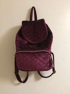 Maroon Velvet Backpack