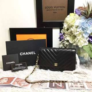 Chanel Chevron Lambskin Wallet On Chain