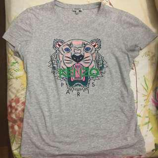 🚚 Preloved Kenzo Classic Tiger Tshirt Ladies M Grey Pink