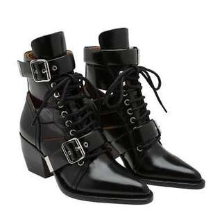 CHLOE Rylee Black Strap Cut Out Boots