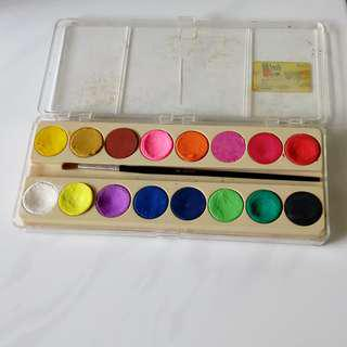 16-colours water colour set with brush