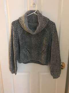 B&w roll neck knit cropped jumper
