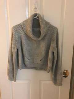 Grey roll neck crop knit