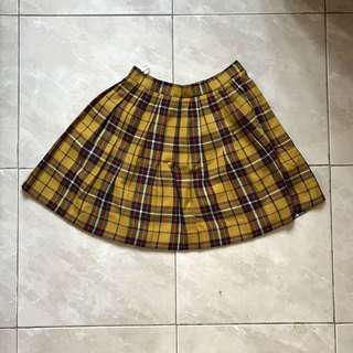 Tartan Yellow Mini Skirt