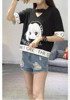 Cute Quiet Harajuku Anime Girl T-shirt