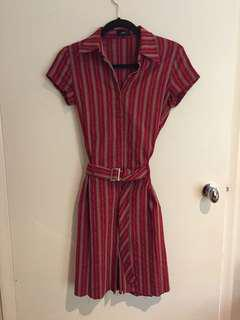 Vintage thin pinstripe red and white button down dress