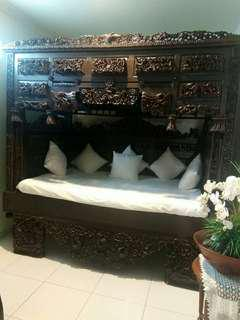 Tempat tidur antik lawas vintage jati asli lama
