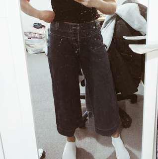 Mid waist cropped wide leg denim pants