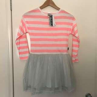 NWT girls size 7 Bonds pink white stripe & grey tulle dress RRP$34.95