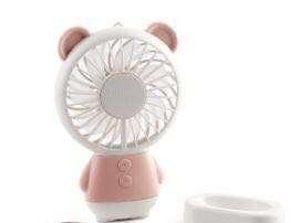 熊仔流動風扇 🐻 Portable Bear Mini Fan USB Rechargeable Electric Colorful LED Handheld Cooling Fan LED Desk Fan Mini Hand Held Fan Pink 粉 For Summer Hot