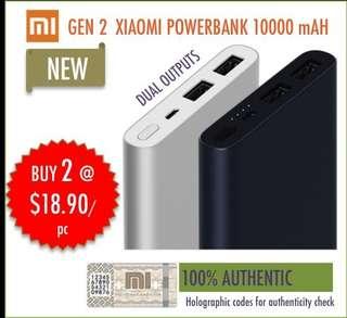 NEW Authentic Gen 2 Dual Outputs Xiaomi PowerBank 10000 maH