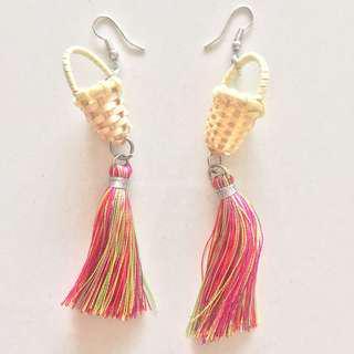 Woven basket tassle earrings