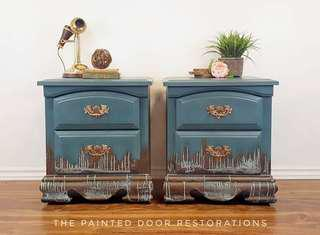 Drippy, Oxidized Patina Nightstands/End Tables/Side Tables/Accent Tables