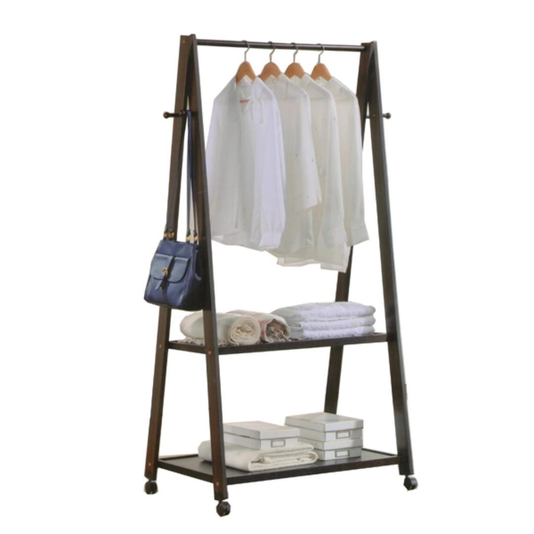 1517 wooden garment rack coat hanger rumah perabot perabot di carousell