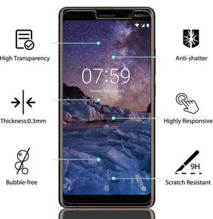 Nokia 7 Plus 透明鋼化防爆玻璃 保護貼 9H Hardness HD Clear Tempered Glass Screen Protector (包除塵淸㓗套裝)(Clearing Set Included)