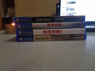 Until Dawn, The Evil Within, The Evil Within 2, Shadow of the beast for PS4