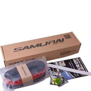 Samurai Rubber Skirt 3M Length Lip Skirt Protector Universal Car Front Lip Bumper Rubber Strip-Black/Carbon