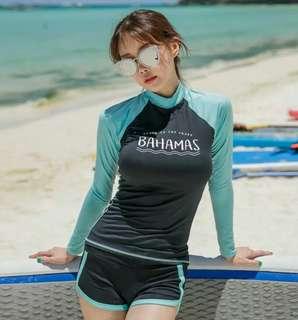 現貨顯瘦防曬長袖水母衣運動平口褲泳衣兩件組swimsuit