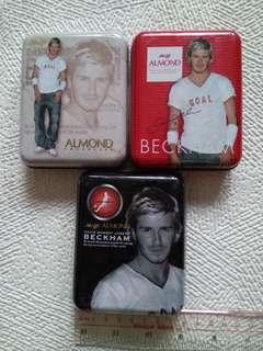 明治Meiji x David Beckham碧咸正方型鐵盒3個