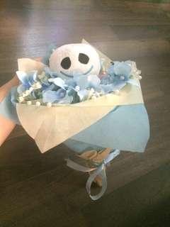 BUKET BONEKA FROZEN THEME DOLL BOUQUET BABY BLUE