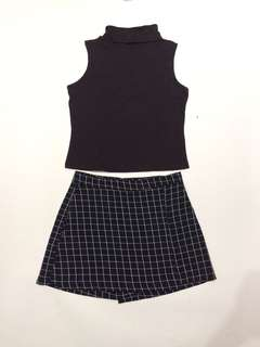 Square navy wrap skort