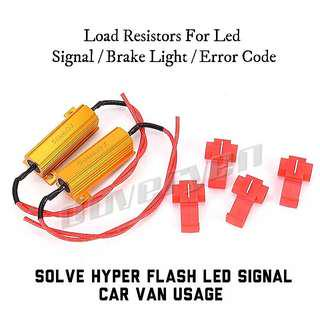 2 x Led 50W 6ohm Load Resistors Solve / Fix Car Van Hyper Flash Led Signal Light / Still Brake light / Error Code No Cutting Of Wire Splice Clips Included No ± Polarity On Wire Plug & Play                             Click READ MORE For More Details