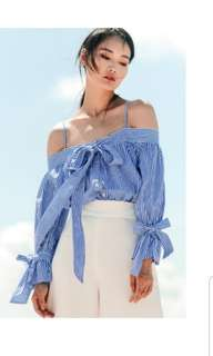 BNWT FASHMOB EMMA TOP IN BLUE STRIPES