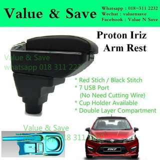 PROTON Iriz Adjustable Armrest Arm Rest Red Stitch 7USB Port With Cup Holder