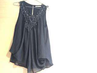 🈹日本購入 日牌Luxe Rose 黑色雪紡民族上衣