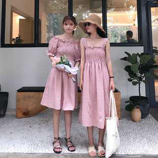 粉色格仔連身裙