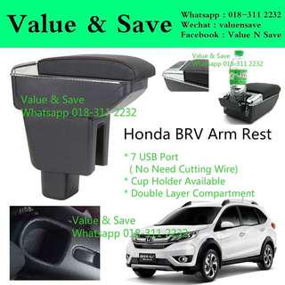 Honda BR-V BRV Adjustable Armrest Arm Rest Black Stitch 7USB Port With Cup Holder