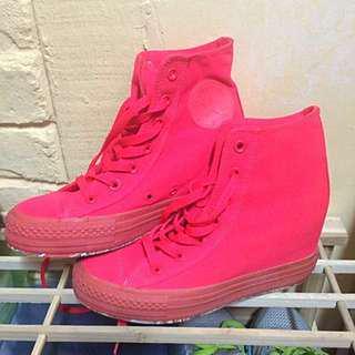 Converse Pink Sneakers Heels Wedges UK 5