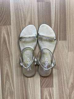 Gold Strap Sandals, Size 38