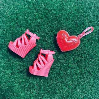 🚚 芭比娃娃時尚達人 楔形鞋+愛心手拿包|Janet Style