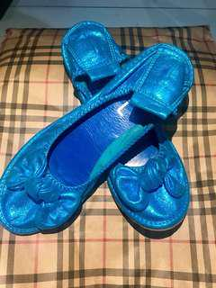 Mettalic Blue doll shoes (size 7)