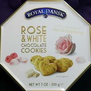 玫瑰花白朱古力曲奇餅 200g 全新正版 Royal Dansk Rose & White Chocolate Cookies