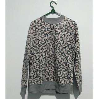 *NEGO* Grey Sweater Motif Bunga