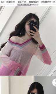 Glitter ombré pink top