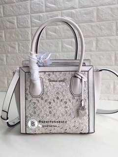 Michael Kors Mercer studio Medium Messenger Flower embroidered Satchel -  white 4aa8af0529d00
