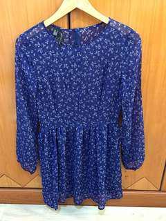 Flower blue dress Mango Original