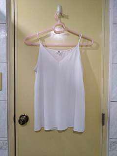 Uniqlo white pleated camisole