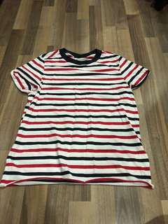 Topshop cuffed strips shirt