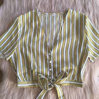 Striped Tie Blouse