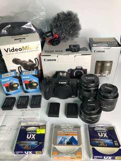 99%NEW 行貨Canon EOS M50 連EF-M 15-45mm f/3.5-6.3 IS STM鏡頭套裝 + EF-M 11-22mm f/4-5.6 IS STM + EF-M 22mm STM +RODE VideoMicro